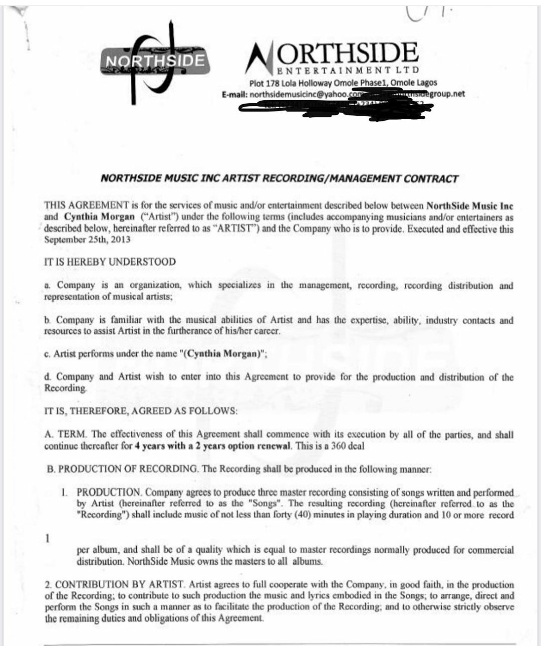 Cynthia Morgan's contract with Northside Records