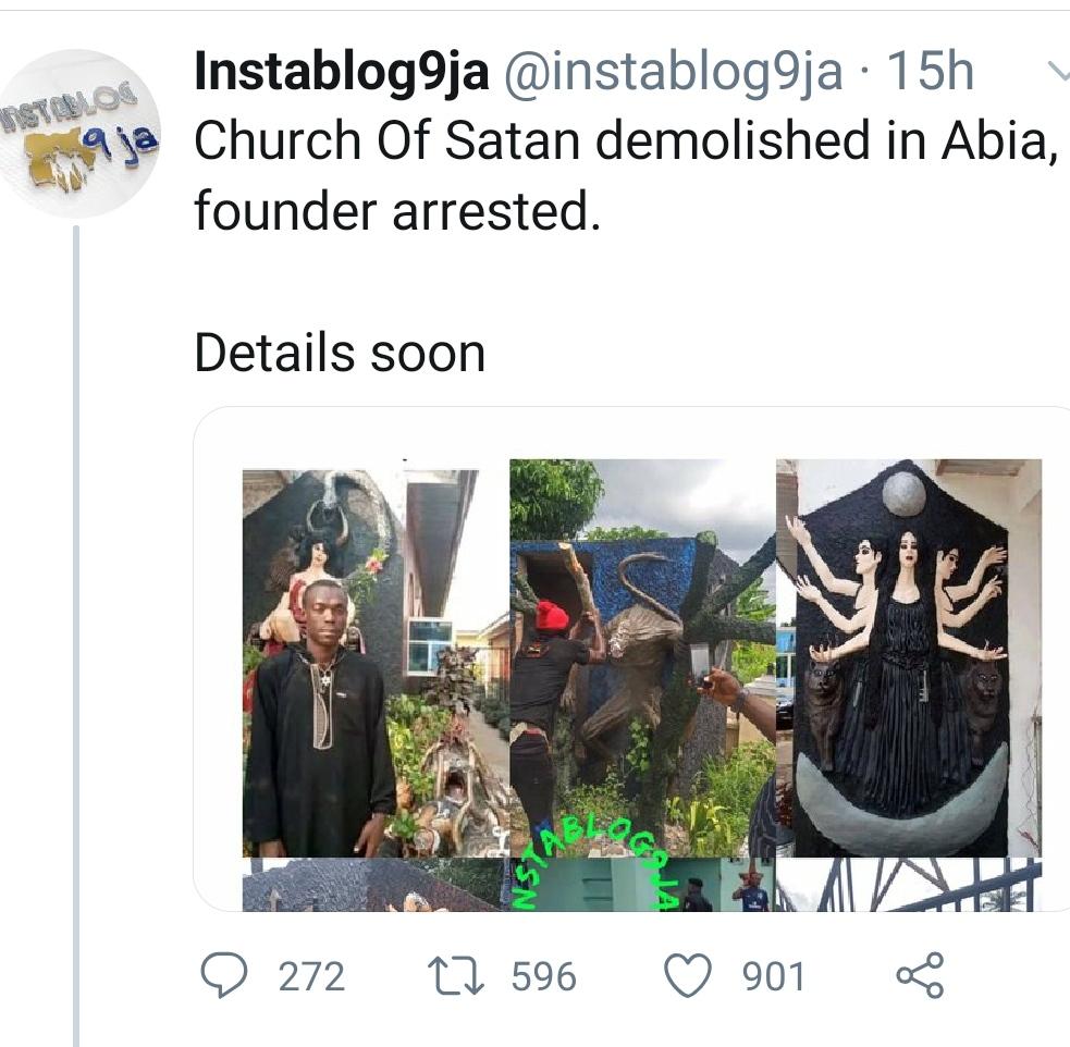 Church of Satan reacts to Aba Church Demolition