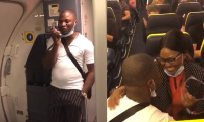 Video Of Nigerian Man Proposing To His Girlfriend Inside Airplane