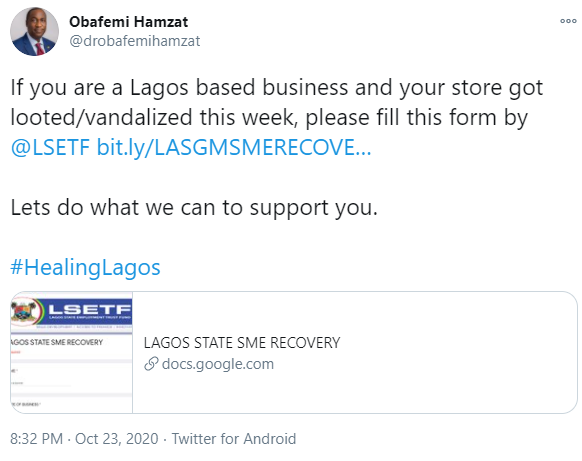 See What Lagos Government Wants To Do To Vandalized Businesses