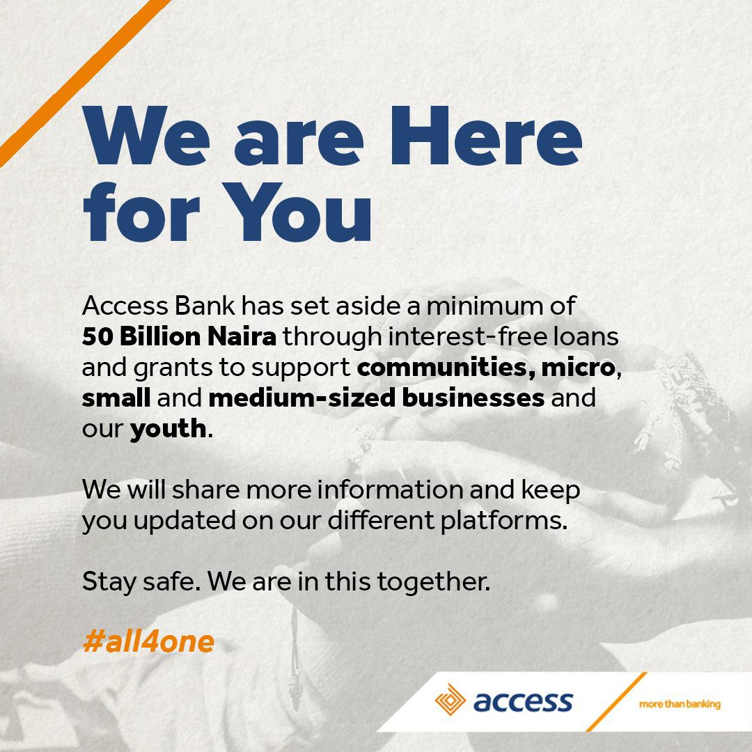 Access Bank Sets Aside N50 billion To Support Businesses And Youth