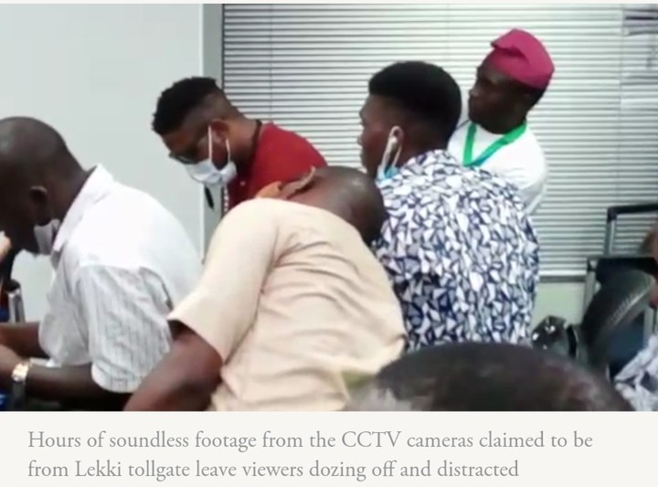 Photos Of Panel Members Dozing While Watching Lekki Shooting CCTV Footage