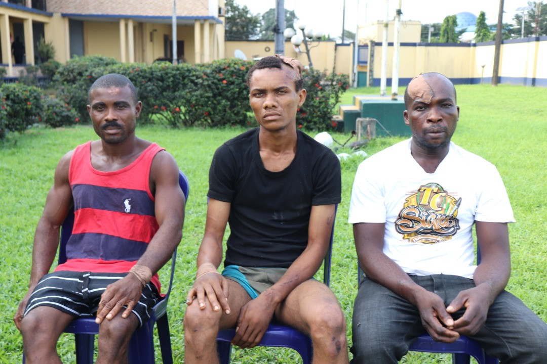 Three Suspects Who Claim To Be IPOB Members Paraded For Burning Wike's Father's Church