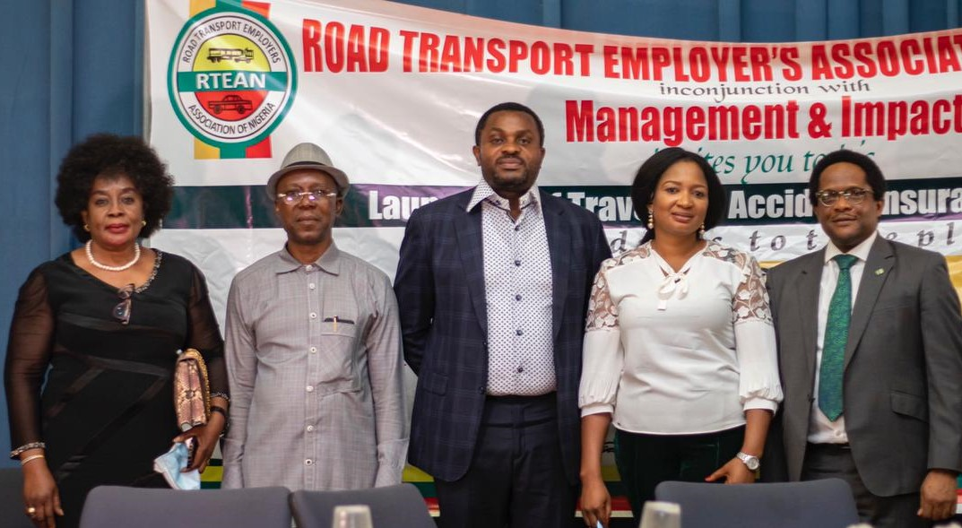 L-R: Chinwendu Ofulue, Regional Head South East 2 Heritage Bank Plc; Mr. Abatta, Road Traveller; George Oko-Oboh, Regional Executive Abuja & North Heritage Bank; Folashade Abatta, Director, Management 4 Impact Ltd and Dike Dimiri, Divisional Head Products & Inclusive Banking Heritage Bank; during the launch of the Travelers Accident Insurance Scheme (TAIS) by the Road Transport Employers' Association (RTEAN) in collaboration with Heritage Bank, held in Abuja.